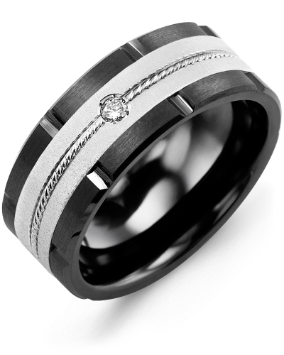 Men's & Women's Black Ceramic Brush Grooves & White Gold + 1 Diamond 0.05ct Wedding Band from MADANI Rings. Wedding bands, fashion rings, promise rings, made of Tungsten, Ceramic, Cobalt, and Gold. View the collection at madanirings.com