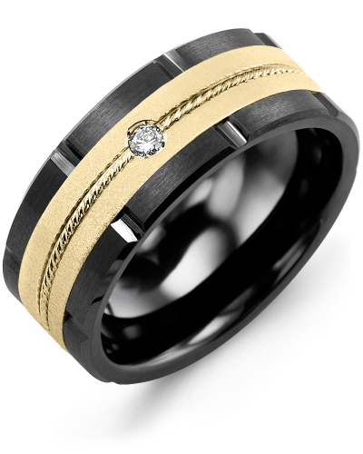 Men's & Women's Black Ceramic Brush Grooves & Yellow Gold + 1 Diamond tcw 0.05 Wedding Band 10K 9mm