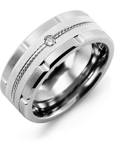 Men's & Women's Cobalt Brush Grooves & White Gold + 1 Diamond tcw 0.05 Wedding Band 10K 9mm