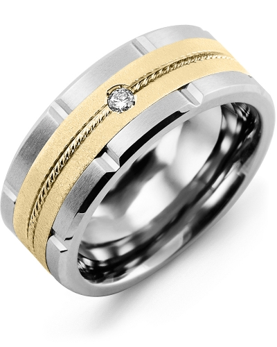 Men's & Women's Cobalt Brush Grooves & Yellow Gold + 1 Diamond tcw 0.05 Wedding Band 10K 9mm