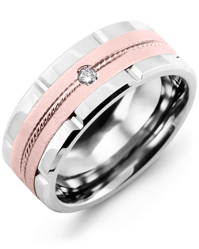 Men's & Women's Cobalt Brush Grooves & Rose Gold + 1 Diamond tcw 0.05 Wedding Band 14K 9mm