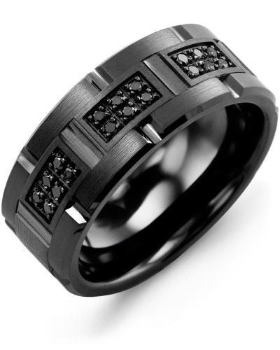 Men's & Women's Black Ceramic Brush Grooves & Black Gold + 18 Black Diamonds 0.18ct Wedding Band