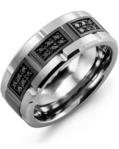Men's & Women's Tungsten Brush Grooves & Black Gold + 18 Black Diamonds 0.18ct Wedding Band