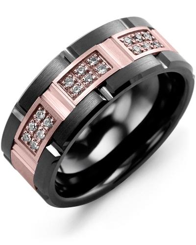 Men's & Women's Black Ceramic Brush Grooves & Rose Gold + 18 Diamonds 0.18ct Wedding Band