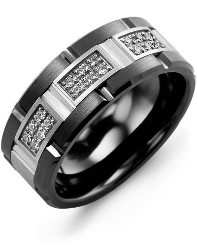 Men's & Women's Black Ceramic Brush Grooves & White Gold + 18 Diamonds 0.18ct Wedding Band