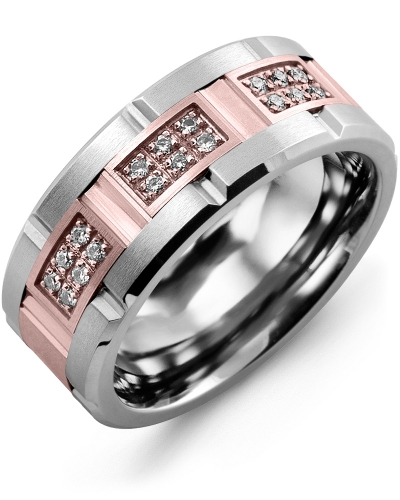 Men's & Women's Cobalt Brush Grooves & Rose Gold + 18 Diamonds 0.18ct Wedding Band