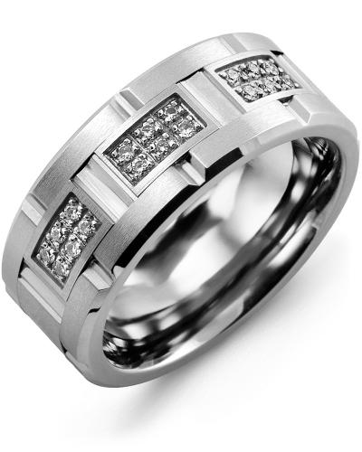 Men's & Women's Cobalt Brush Grooves & White Gold + 18 Diamonds 0.18ct Wedding Band from MADANI Rings. Wedding bands, fashion rings, promise rings, made of Tungsten, Ceramic, Cobalt, and Gold. View the collection at madanirings.com