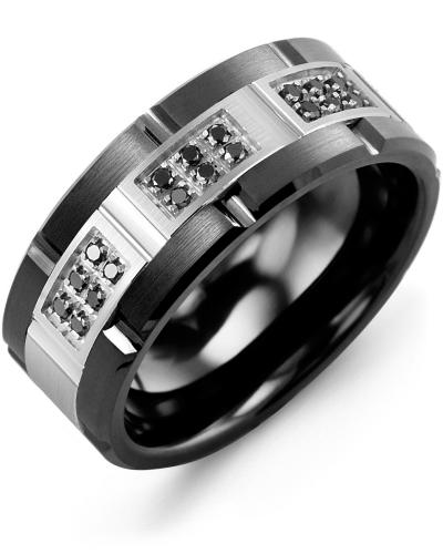 Men's & Women's Black Ceramic Brush Grooves & White Gold + 18 Black Diamonds 0.18ct Wedding Band