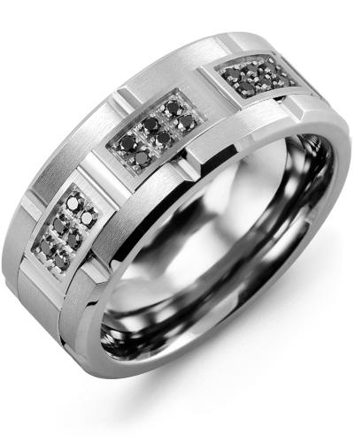 Men's & Women's Tungsten Brush Grooves & White Gold + 18 Black Diamonds 0.18ct Wedding Band from MADANI Rings. Wedding bands, fashion rings, promise rings, made of Tungsten, Ceramic, Cobalt, and Gold. View the collection at madanirings.com