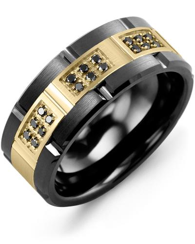 Men's & Women's Black Ceramic Brush Grooves & Yellow Gold + 18 Black Diamonds 0.18ct Wedding Band