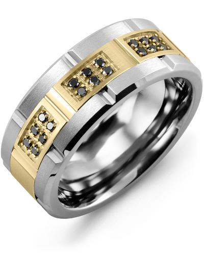 Men's & Women's Tungsten Brush Grooves & Yellow Gold + 18 Black Diamonds 0.18ct Wedding Band