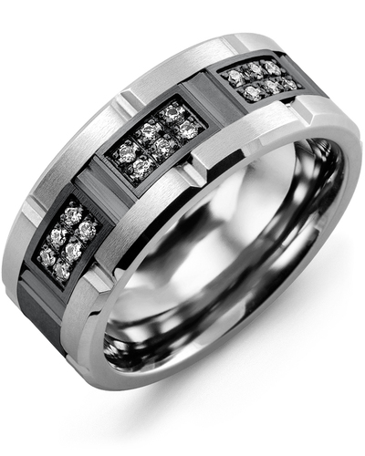 Men's & Women's Tungsten Brush Grooves & Black Gold + 18 Diamonds 0.18ct Wedding Band from MADANI Rings. Wedding bands, fashion rings, promise rings, made of Tungsten, Ceramic, Cobalt, and Gold. View the collection at madanirings.com