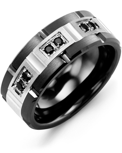 Men's & Women's Black Ceramic Brush Grooves & White Gold + 6 Black Diamonds 0.18ct Wedding Band