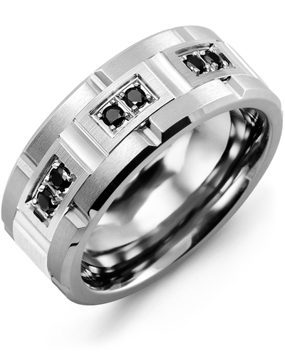 Men's & Women's Cobalt Brush Grooves & White Gold + 6 Black Diamonds 0.18ct Wedding Band from MADANI Rings. Wedding bands, fashion rings, promise rings, made of Tungsten, Ceramic, Cobalt, and Gold. View the collection at madanirings.com