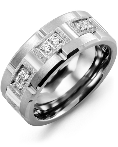 Men's & Women's Tungsten Brush Grooves & White Gold + 6 Diamonds 0.18ct Wedding Band from MADANI Rings. Wedding bands, fashion rings, promise rings, made of Tungsten, Ceramic, Cobalt, and Gold. View the collection at madanirings.com