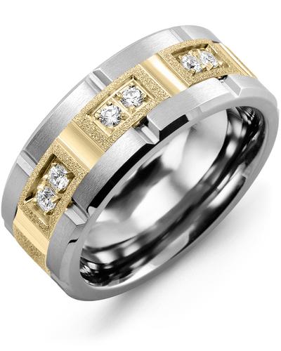 Men's & Women's Tungsten Brush Grooves & Yellow Gold + 6 Diamonds 0.18ct Wedding Band