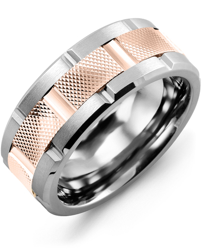 Men's & Women's Cobalt Brush Grooves & Rose Gold Wedding Band