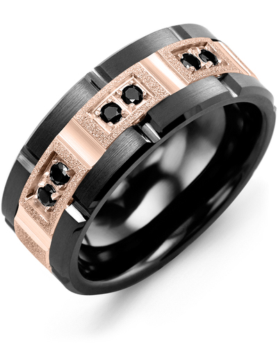 Men's & Women's Black Ceramic Brush Grooves & Rose Gold + 6 Black Diamonds 0.18ct Wedding Band