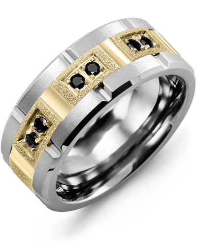 Men's & Women's Cobalt Brush Grooves & Yellow Gold + 6 Black Diamonds 0.18ct Wedding Band