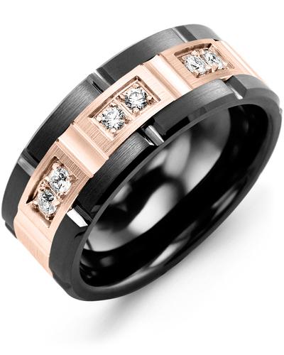 Men's & Women's Black Ceramic Brush Grooves & Rose Gold + 6 Diamonds 0.18ct Wedding Band