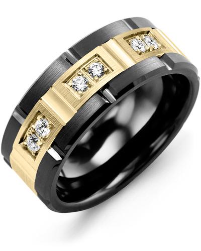Men's & Women's Black Ceramic Brush Grooves & Yellow Gold + 6 Diamonds 0.18ct Wedding Band
