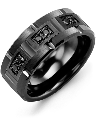 Men's & Women's Black Ceramic Brush Grooves & Black Gold + 6 Black Diamonds 0.18ct Wedding Band