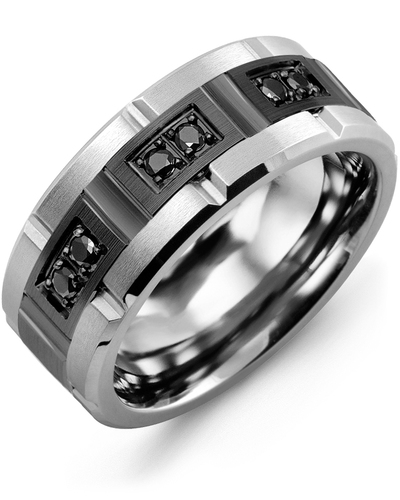 Men's & Women's Tungsten Brush Grooves & Black Gold + 6 Black Diamonds 0.18ct Wedding Band from MADANI Rings. Wedding bands, fashion rings, promise rings, made of Tungsten, Ceramic, Cobalt, and Gold. View the collection at madanirings.com