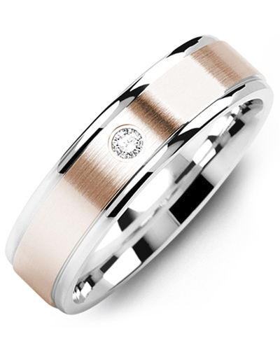 Men's & Women's White Gold & Rose Gold + 1 Diamond 0.05ct Wedding Band