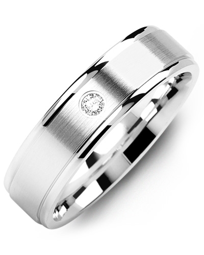 Men's & Women's White Gold & White Gold + 1 Diamond tcw 0.05 Wedding Band 10K 10mm