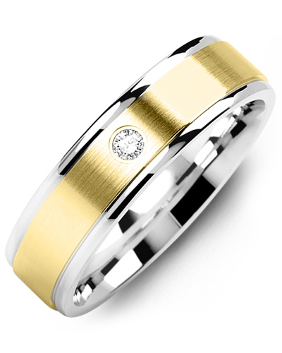 Men's & Women's White Gold & Yellow Gold + 1 Diamond tcw 0.05 Wedding Band 10K 10mm