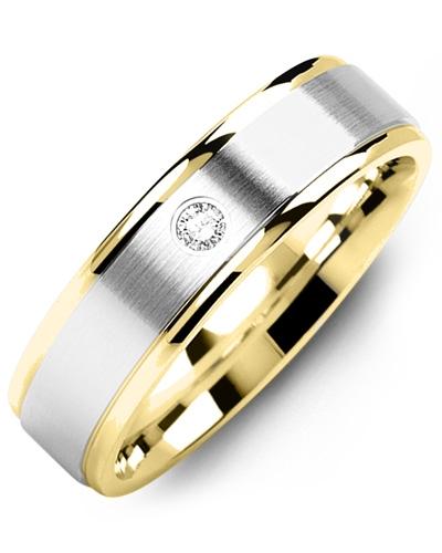 Men's & Women's Yellow Gold & White Gold + 1 Diamond tcw 0.05 Wedding Band