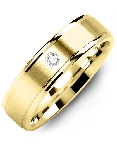 Men's & Women's Yellow Gold + 1 Diamond 0.05ct Wedding Band