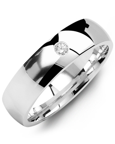 Men's & Women's White Gold + 1 Diamond tcw 0.05 Wedding Band from MADANI Rings. Wedding bands, fashion rings, promise rings, made of Tungsten, Ceramic, Cobalt, and Gold. View the collection at madanirings.com