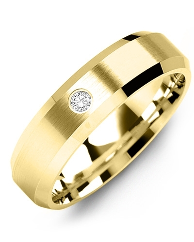 Men's & Women's Yellow Gold + 1 Diamond tcw 0.05 Wedding Band 10K 9mm