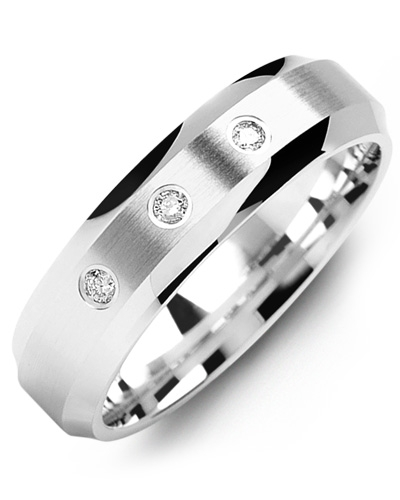 Men's & Women's White Gold + 3 Diamonds 0.06ct Wedding Band 10K 6mm
