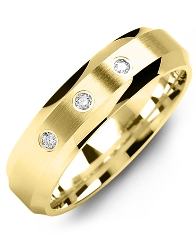 Men's & Women's Yellow Gold + 3 Diamonds tcw 0.06 Wedding Band from MADANI Rings. Wedding bands, fashion rings, promise rings, made of Tungsten, Ceramic, Cobalt, and Gold. View the collection at madanirings.com
