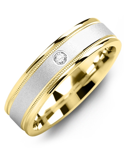 Men's & Women's Yellow Gold & White Gold + 1 Diamond 0.05ct Wedding Band 10K 6mm