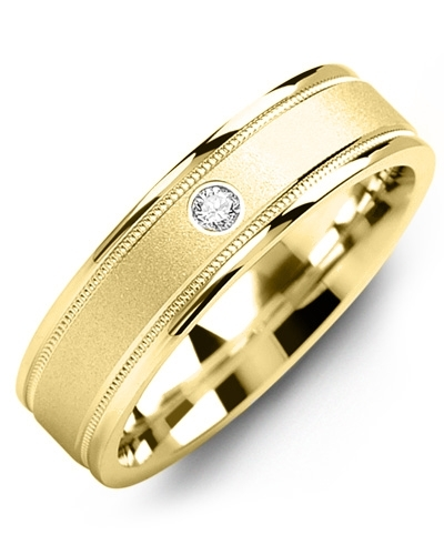 Men's & Women's Yellow Gold & Yellow Gold + 1 Diamond tcw 0.05 Wedding Band
