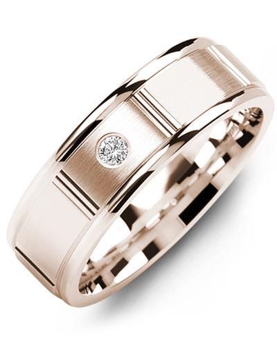 Men's & Women's Rose Gold + 1 Diamond 0.05ct Wedding Band