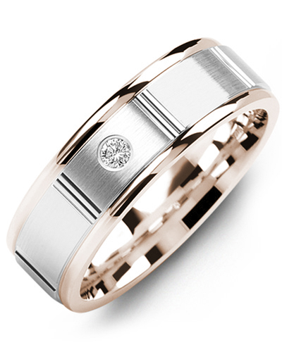 Men's & Women's Rose Gold & White Gold + 1 Diamond 0.05ct Wedding Band