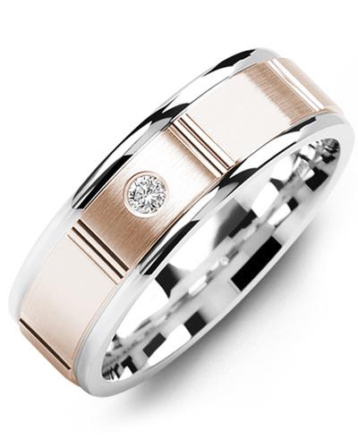 Men's & Women's White Gold & Rose Gold + 1 Diamond 0.05ct Wedding Band