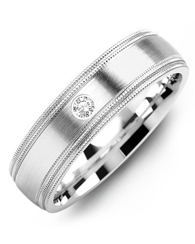 Men's & Women's White Gold & White Gold + 1 Diamond tcw 0.05 Wedding Band from MADANI Rings. Wedding bands, fashion rings, promise rings, made of Tungsten, Ceramic, Cobalt, and Gold. View the collection at madanirings.com