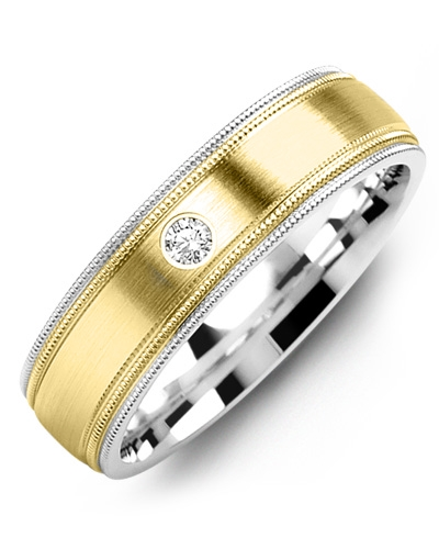 Men's & Women's White Gold & Yellow Gold + 1 Diamond 0.05ct Wedding Band
