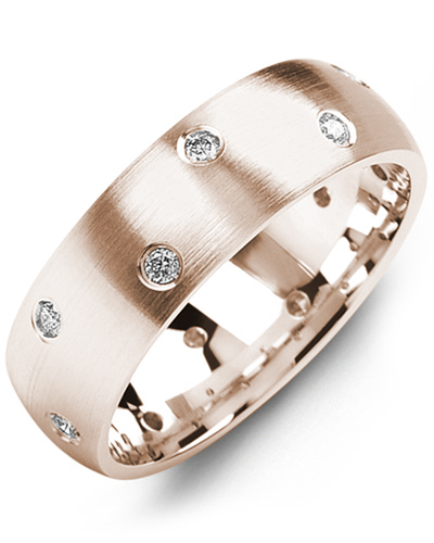 Men's & Women's Rose Gold + 12 Diamonds 0.24ct Wedding Band from MADANI Rings. Wedding bands, fashion rings, promise rings, made of Tungsten, Ceramic, Cobalt, and Gold. View the collection at madanirings.com