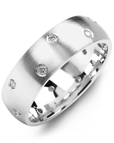 Men's & Women's White Gold + 12 Diamond tcw 0.24 Wedding Band from MADANI Rings. Wedding bands, fashion rings, promise rings, made of Tungsten, Ceramic, Cobalt, and Gold. View the collection at madanirings.com