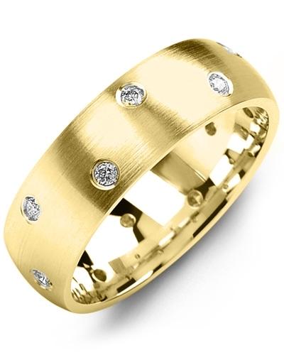 Men's & Women's Yellow Gold + 12 Diamonds 0.24ct Wedding Band