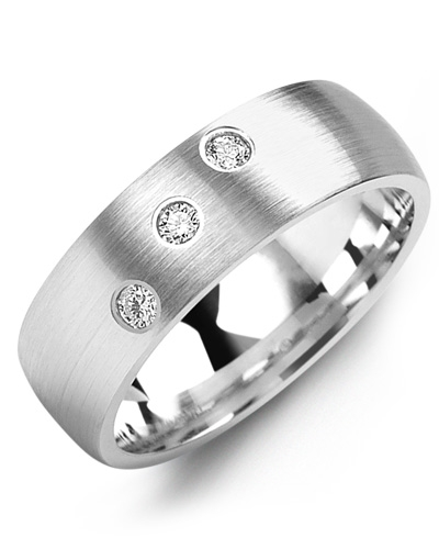 Men's & Women's White Gold + 3 Diamonds 0.15ct Wedding Band
