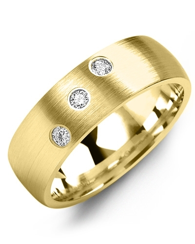 Men's & Women's Yellow Gold + 3 Diamonds 0.15ct Wedding Band 10K 7mm