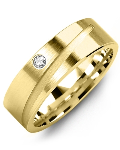Men's & Women's Yellow Gold + 1 Diamond tcw 0.05 Wedding Band 10K 9mm