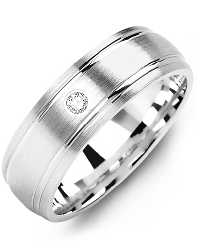 Men's & Women's White Gold + 1 Diamond tcw 0.05 Wedding Band